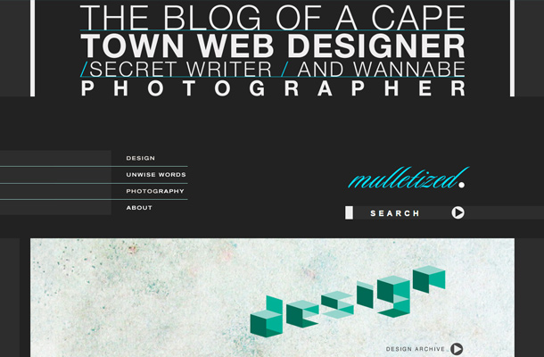 mulletized homepage dark design typography