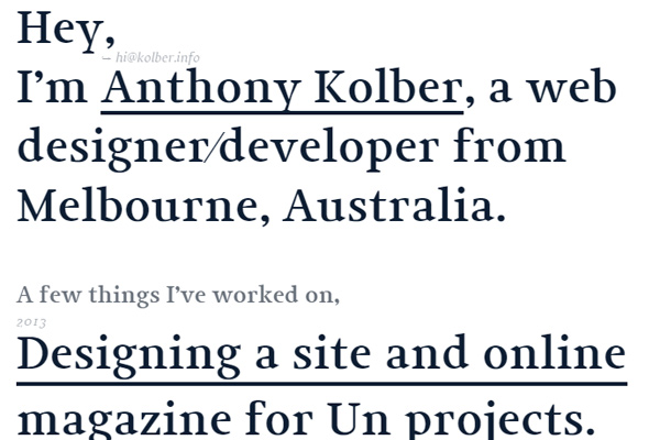 anthony kolber designer personal website typography