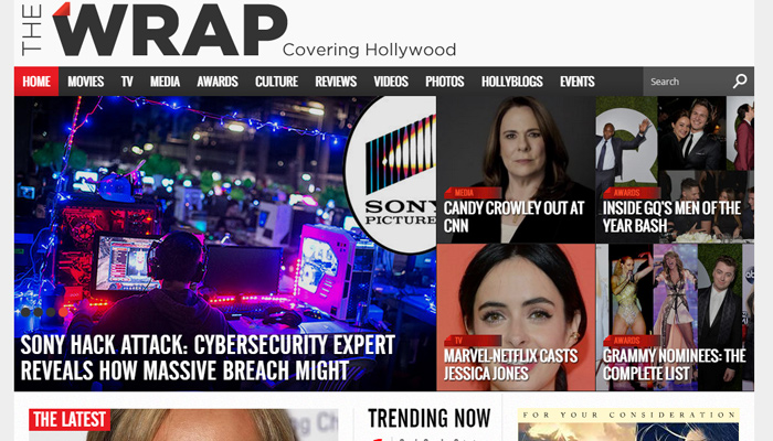the wrap covering hollywood website layout