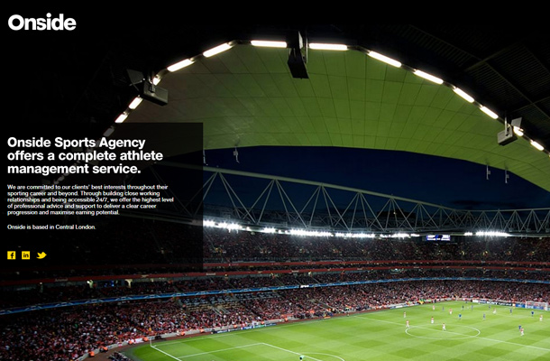onside sports agency website homepage layout