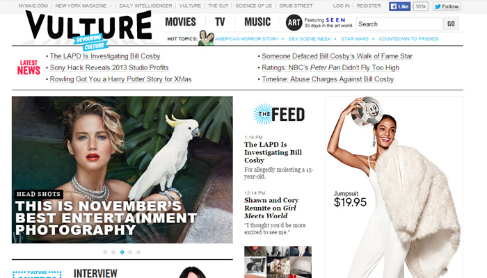 vulture magazine clean white layout