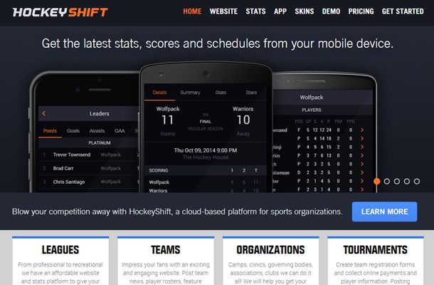 hockey shift app mobile landing page