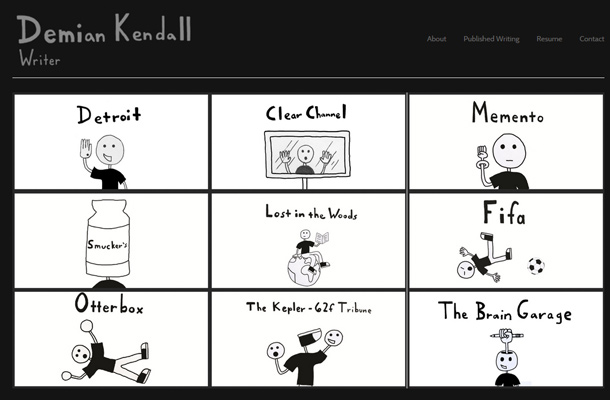 demian kendall website copywriter portfolio layout