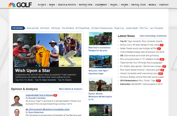 golf channel tv network website