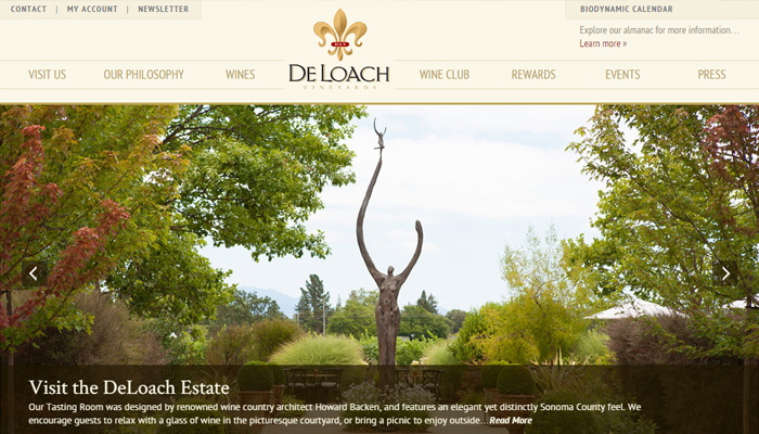 deloach vineyards dark homepage patterns
