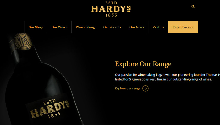 hardys homepage dark website layout winery