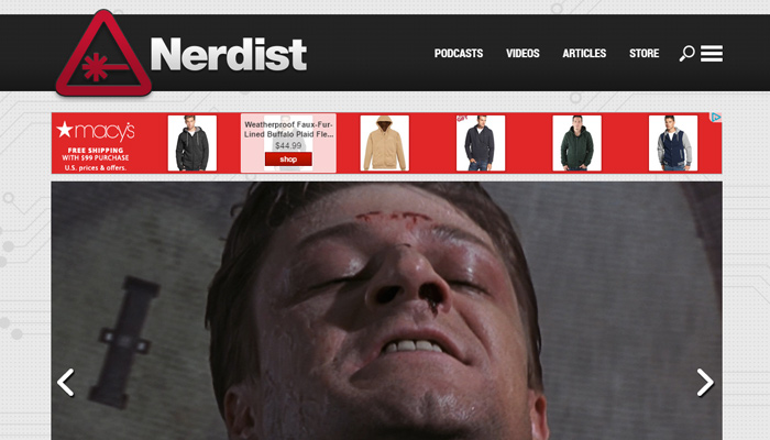 nerdist zone clean website layout design
