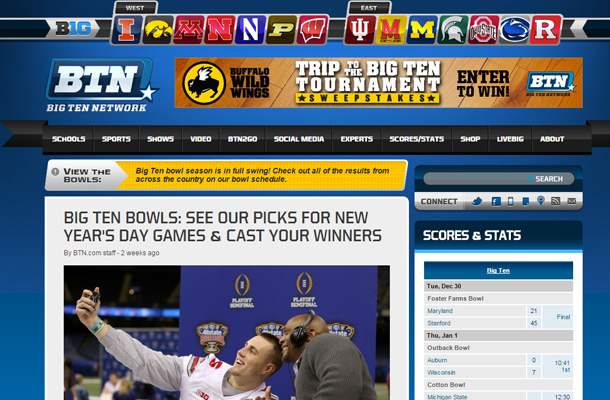 big ten network website television station