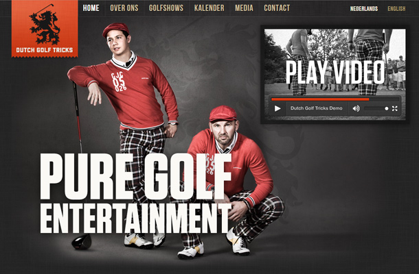 dutch golf tricks website layout homepage