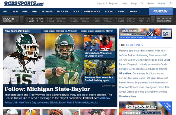cbs sports network homepage layout