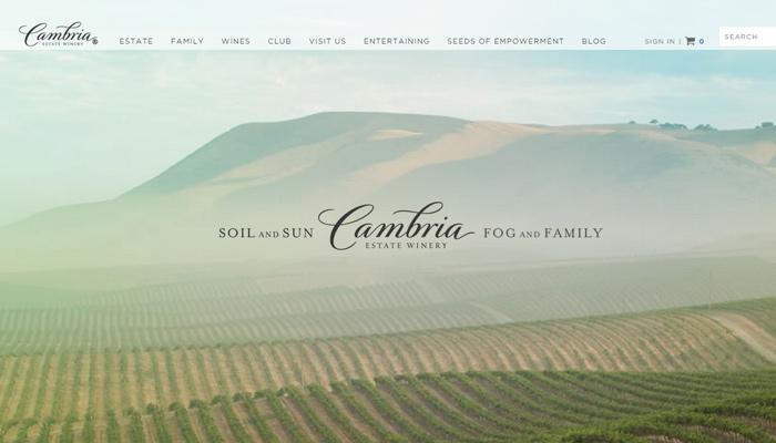 cambria estate winery website homepage background photo