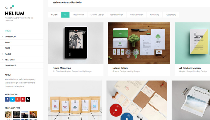helium modern portfolio theme wordpress