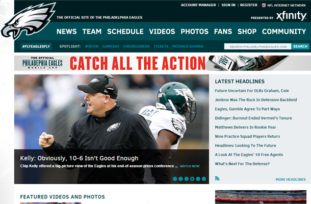 philadelphia eagles website football team