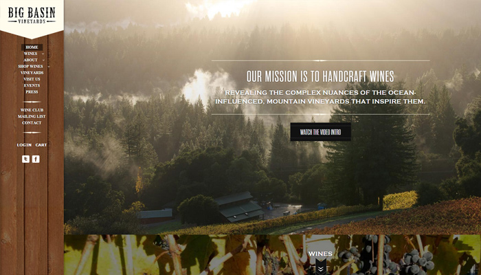 big basin vineyards website vertical navigation