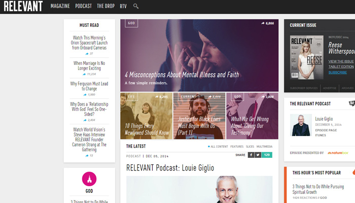 relevant magazine website homepage layout