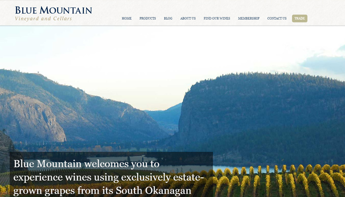 blue mountain winery fullscreen background website