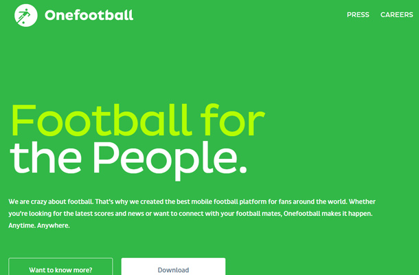 one football green homepage sports website
