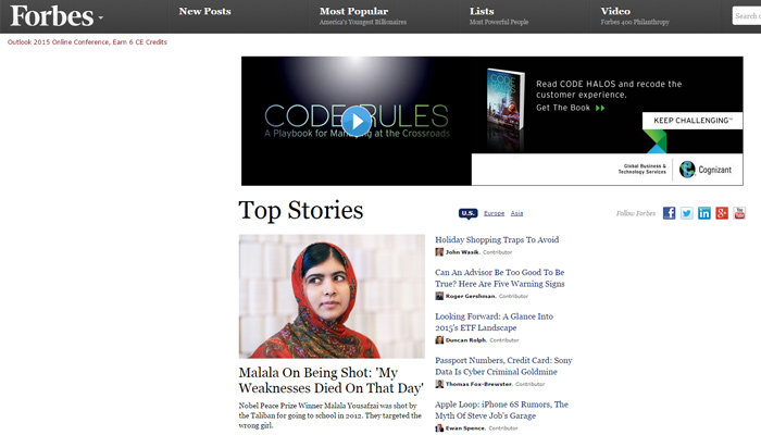 forbes magazine website layout design