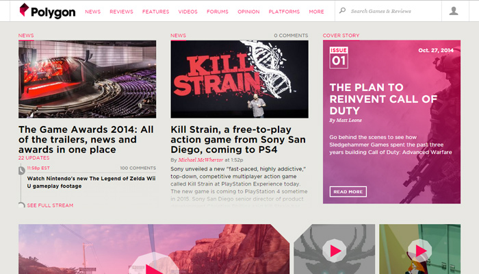 polygon digital magazine website layout