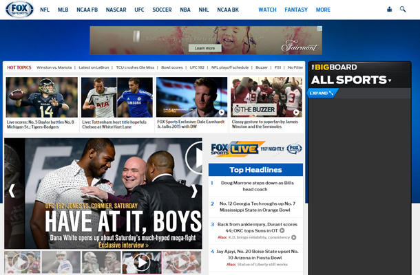 fox sports website homepage layout