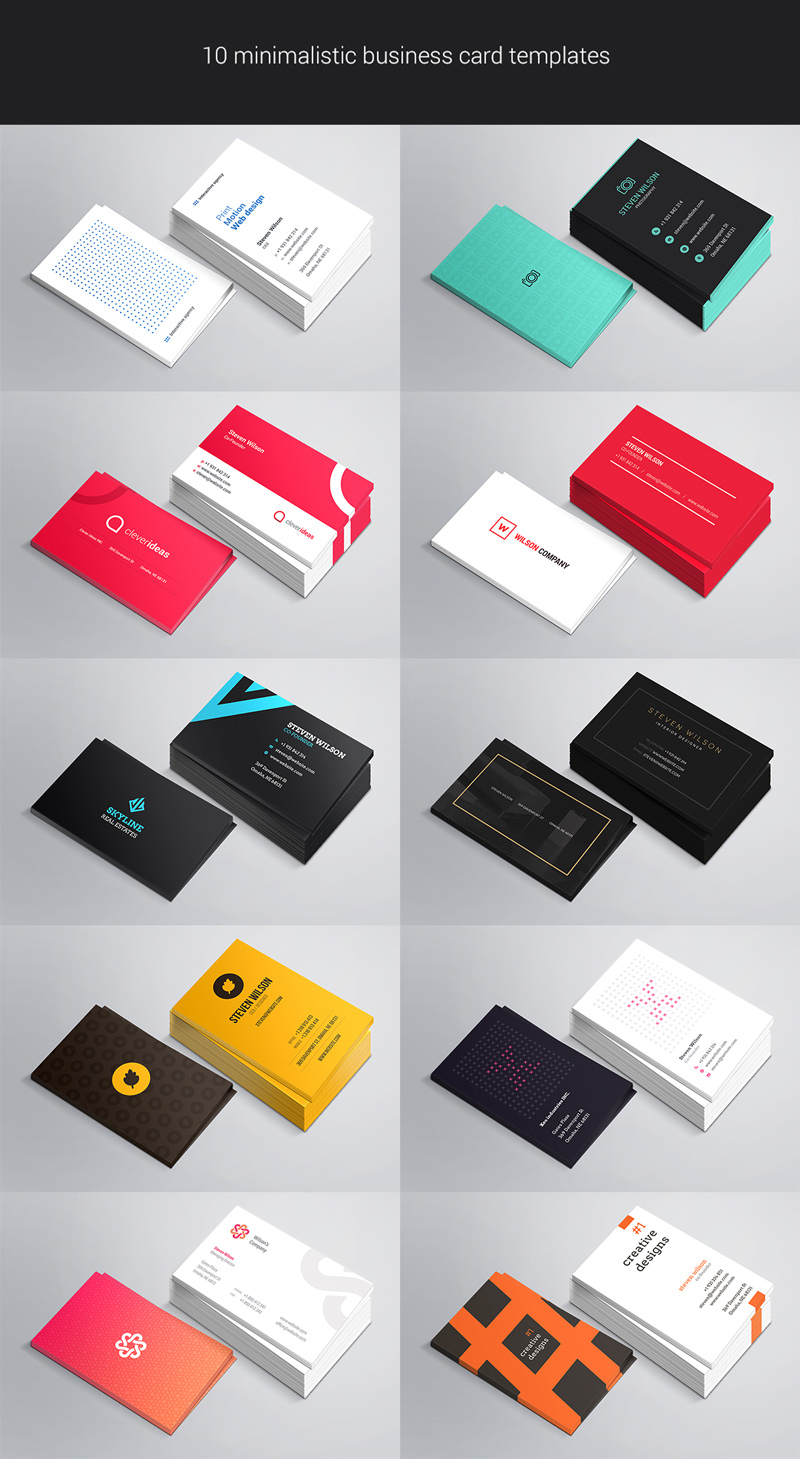 10 business cards preview - freebie PSDs