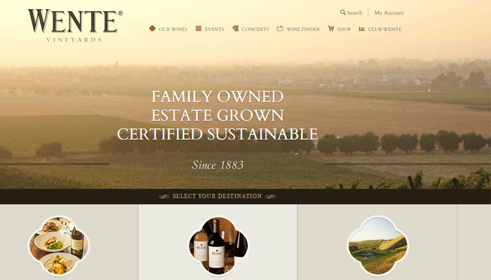wente vineyards homepage fullscreen photo background