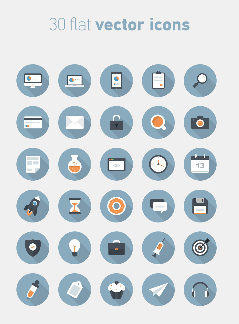 big preview - 30 free flat circle vector icons