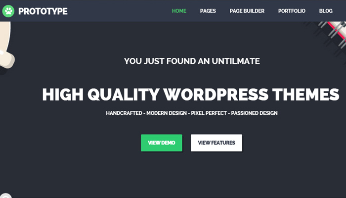 prototype flat simple wordpress portfolio theme