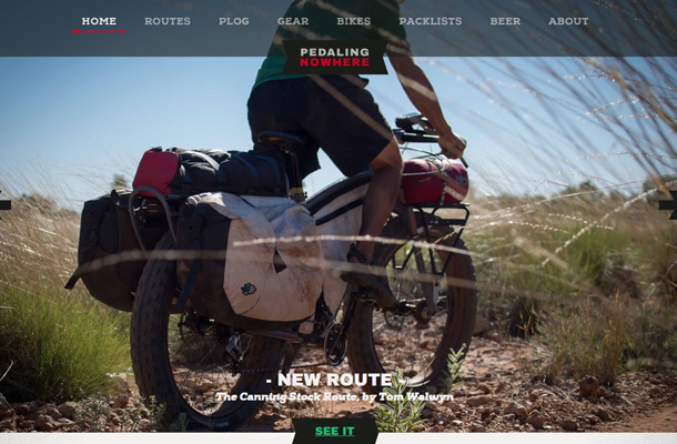 pedaling nowhere website custom sports homepage