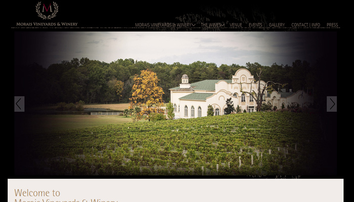 morais vineyard winery dark homepage