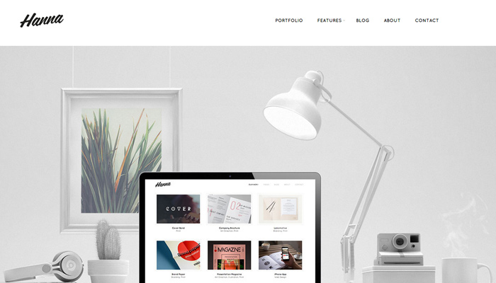 hanna white clean simple portfolio theme wordpress