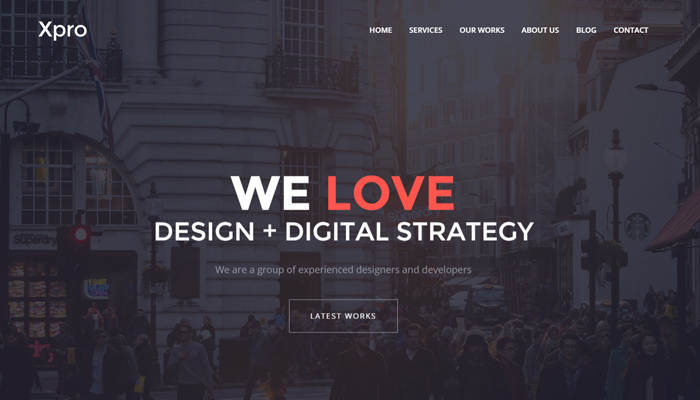 xpro one page agency portfolio wordpress