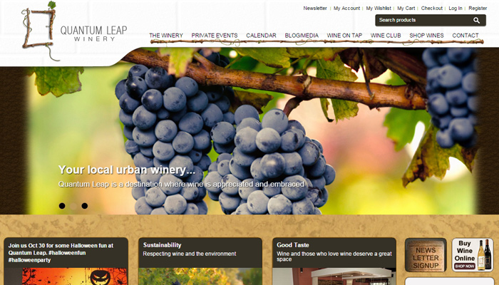 quantum leap florida winery website layout