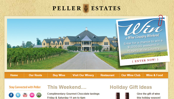 peller estates winery vineyard homepage yellow