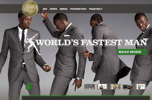 usain bolt athlete homepage website layout