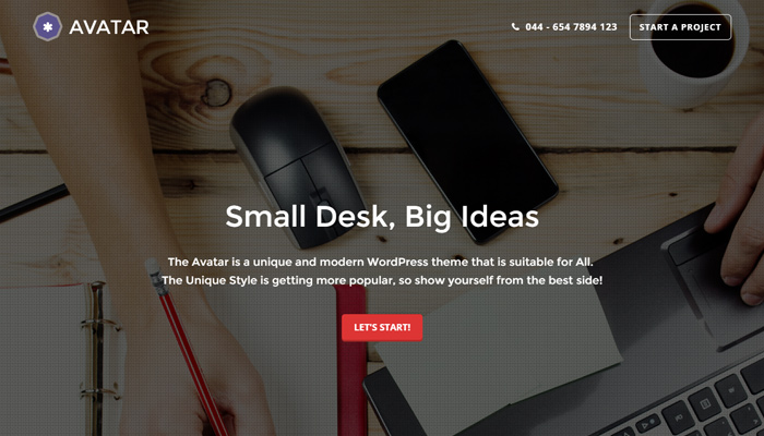 avatar single page parallax wordpress theme