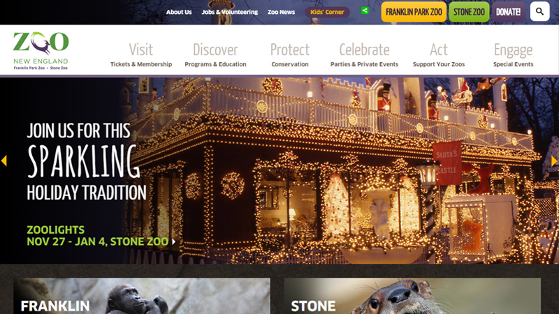 zoo new england website layout dark simple