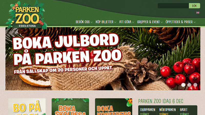 parken zoo green website layout