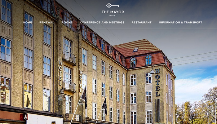 denmark the mayor hotel website layout