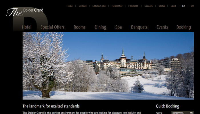 dolder grand hotel website homepage design