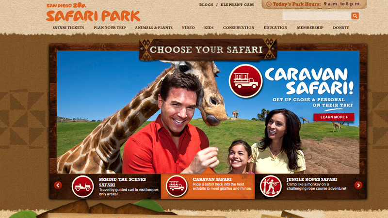 san diego zoo safari park website layout