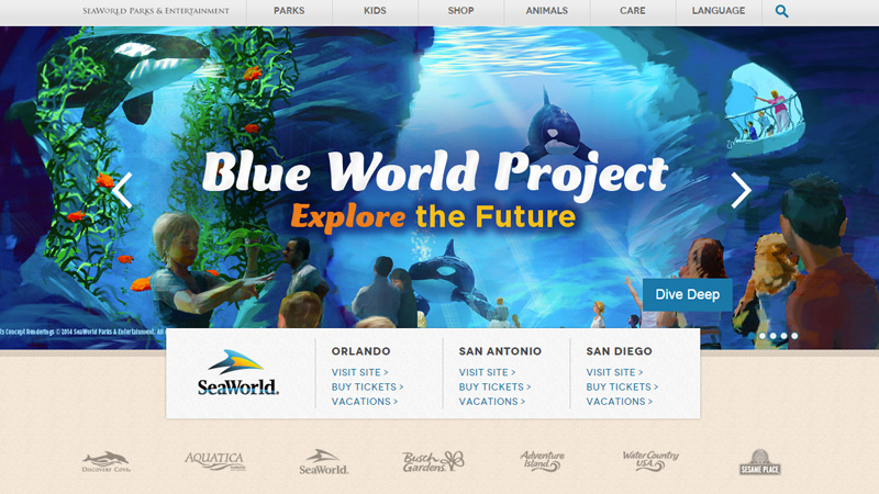 seaworld simple theme park aquarium water homepage