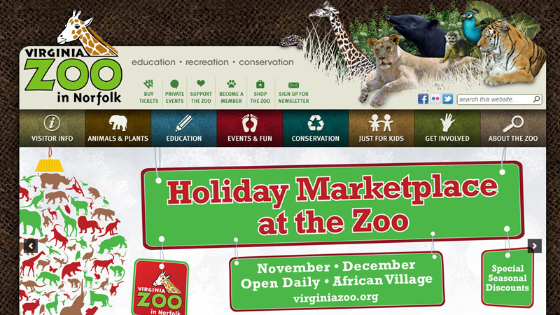 norfolk virginia zoo website brown layout
