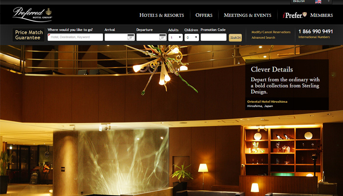 preferred hotel group website homepage