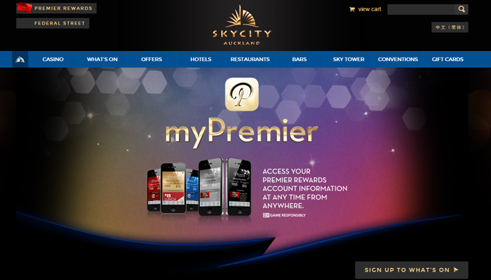 sky city auckland website homepage design