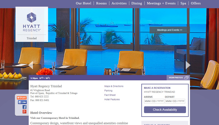 trinidad tobago hotel website design