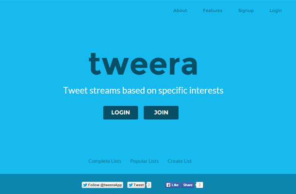 tweera blue background twitter homepage
