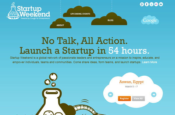 startup weekend blue background design