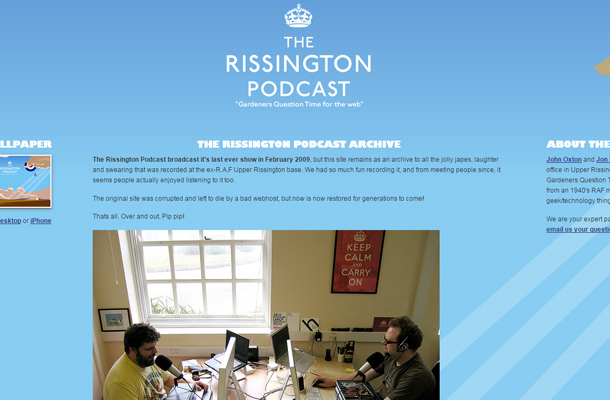 rissington podcast website design layout