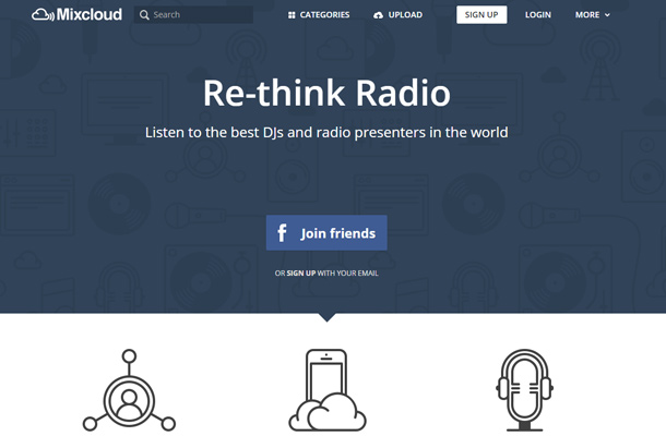 mixcloud website homepage blue design